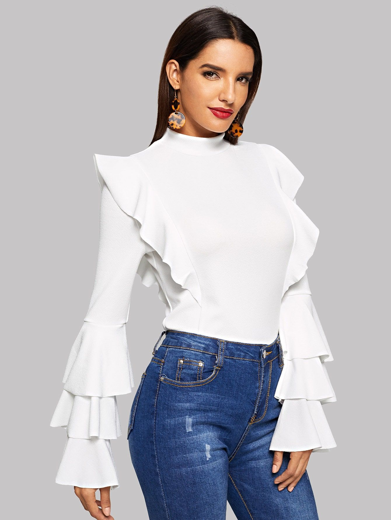 5377153504 Elegant Ruffle and Tiered Layer Plain Top Slim Fit Stand Collar Long Sleeve  Pullovers White Regular Length Layered Sleeve Ruffle Trim Pullover