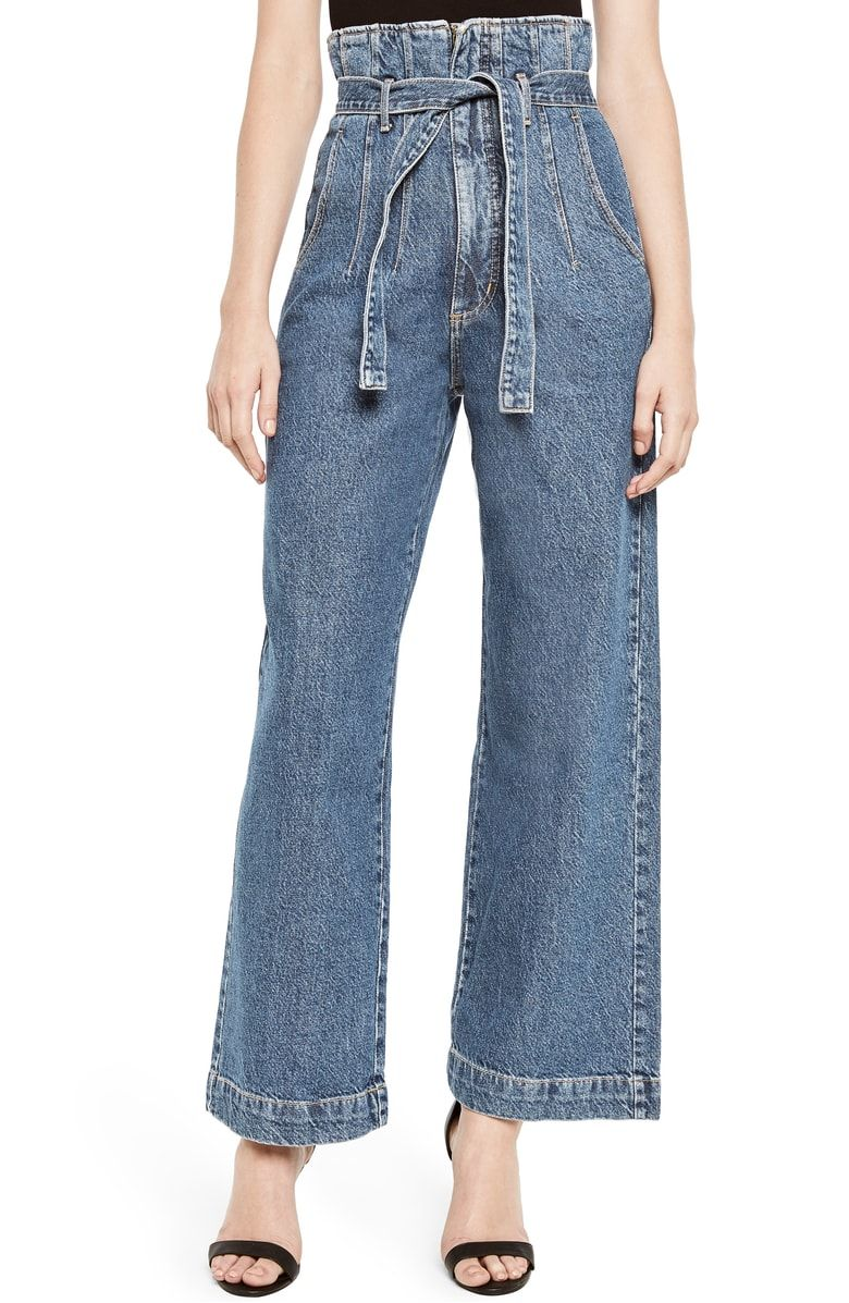abc4a506b9e548 Exude '70s vibes in nonstretch denim pants with roomy, cropped legs,  tailored front seams and a tie belt to enhance the high paperbag waist.