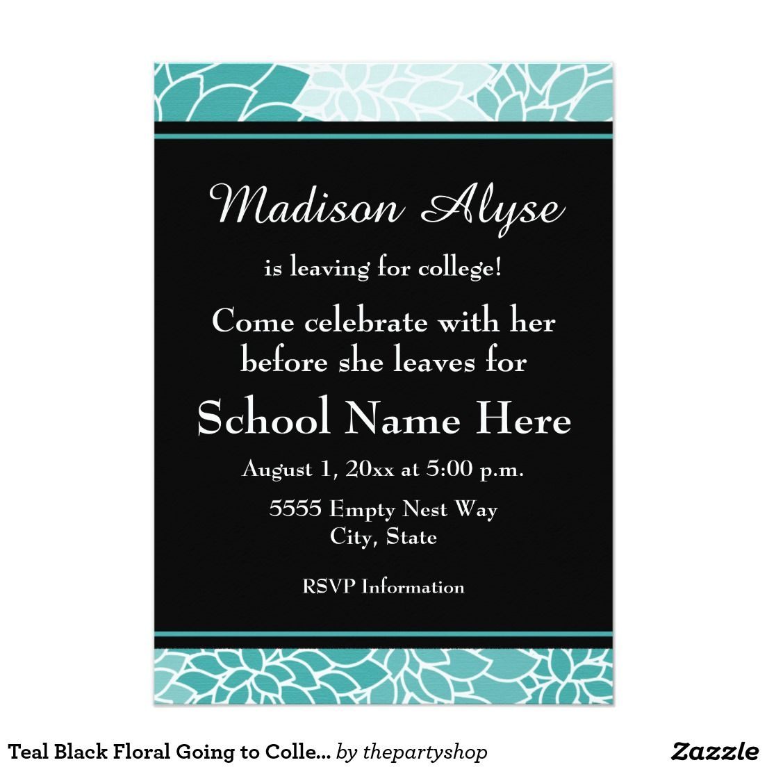 Teal black floral going to college party invite college parties party invitations filmwisefo Gallery