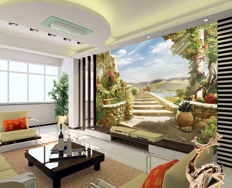 European Style 3D Three Dimensional Large Murals Natural Scenery TV Background Wall Paper Dining Room Living
