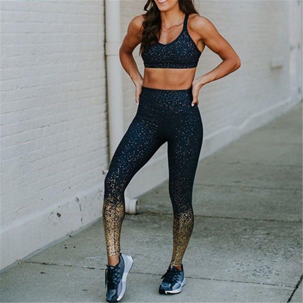 Casual Women High Waist Shinny Yoga Pants Fitness Running Gym Stretchy Leggings Sport Pants Long Hig...
