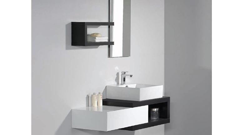 Meuble de salle de bain simple vasque bicolore 150 cm Carmen