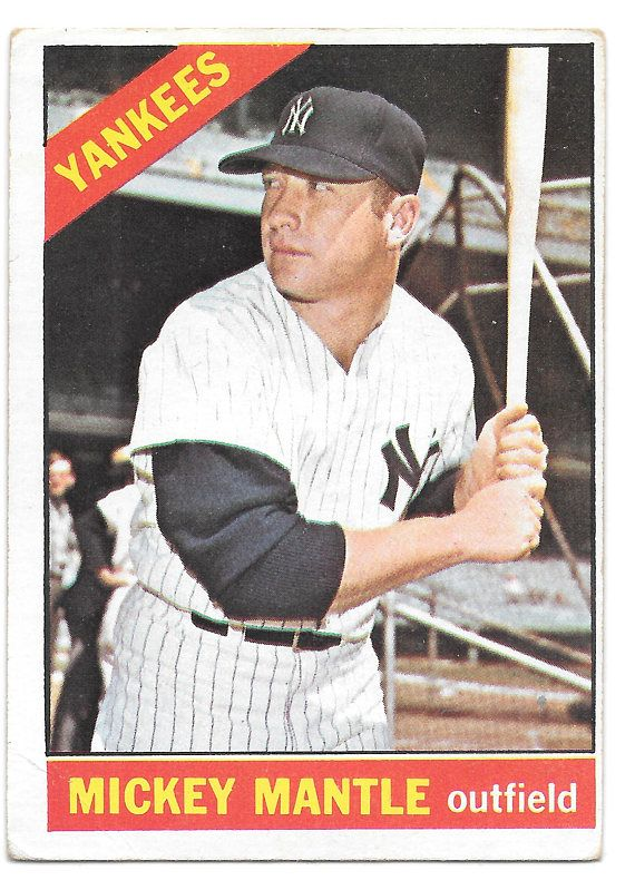 Ny Yankee Triple Crown Winner Mickey Mantle 1966 Topps Card Etsy Mickey Mantle Baseball Cards Baseball Cards For Sale