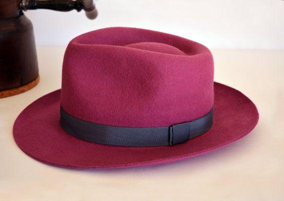 Azalea Rose Pink Wool Felt Teardrop Fedora Pure by HatsNCompany