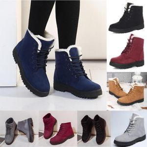 Hot Womens Casual Flat Faux Suede Thicken Shoes Winter Warm Snow Boots Fashion