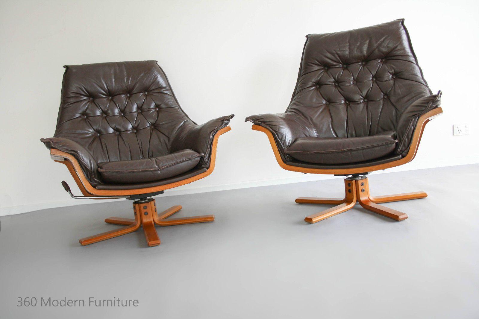 mid century armchairs x2 danish deluxe leather swivel rocker recliner bentwood retro vintage. Black Bedroom Furniture Sets. Home Design Ideas