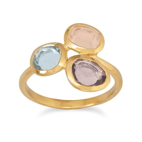 14 Karat Gold Plated Ring with Abstract Stone Design - Jewelry & More