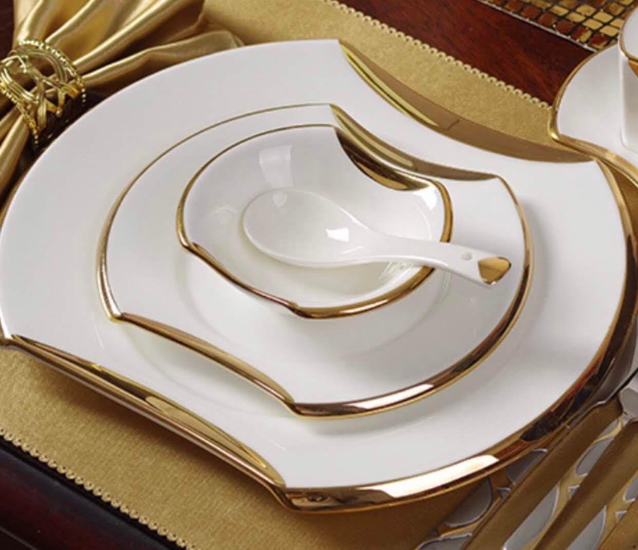 Dinner Plate Set Luxury Oval Shape Gold Banded White Fine Bone