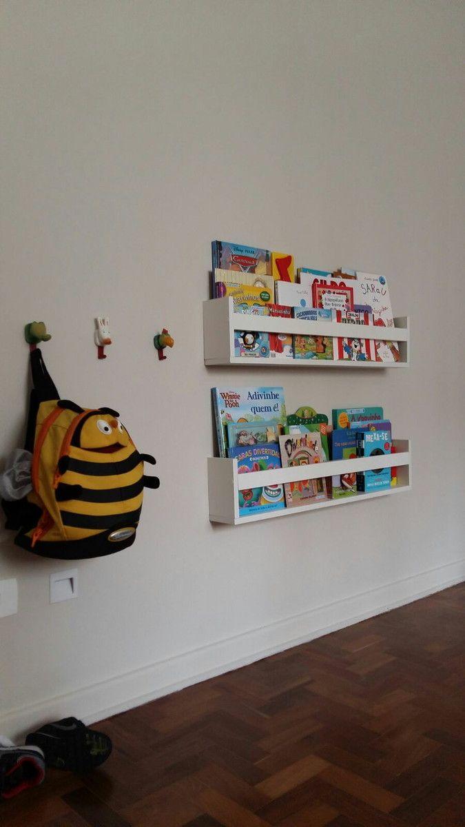 Prateleira Livros Infantil 60cm Kit 3p S Prateleira Livro  ~ Prateleira Em Quarto Infantil E Parede De Pvc Para Quarto