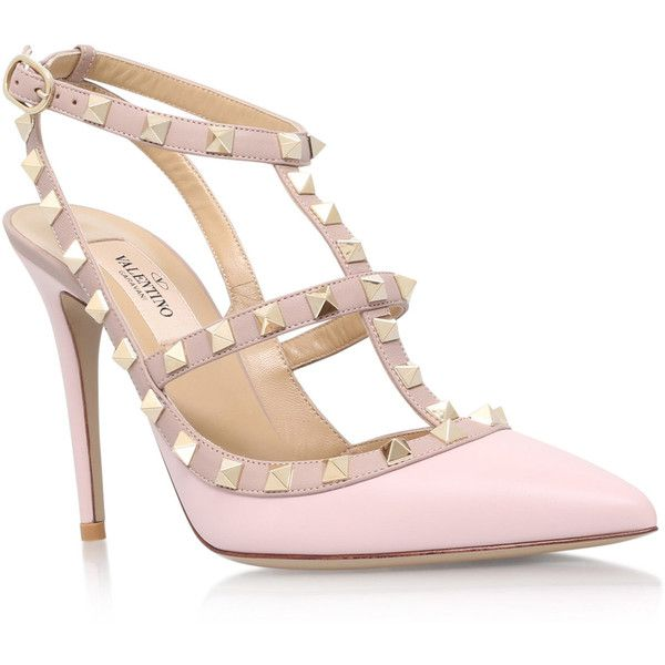 8b897e341 Valentino Light Pink Rockstud 100 T-Bar Courts ( 800) ❤ liked on Polyvore  featuring shoes