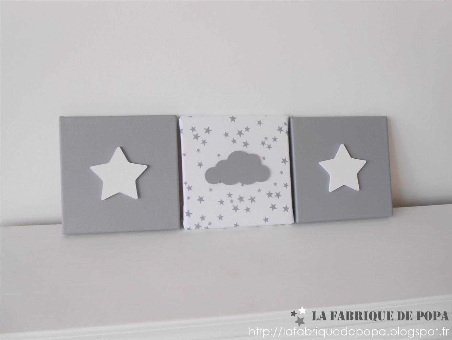 Triptyque 20x20 Etoiles et Nuage gris blanc décoration chambre ...