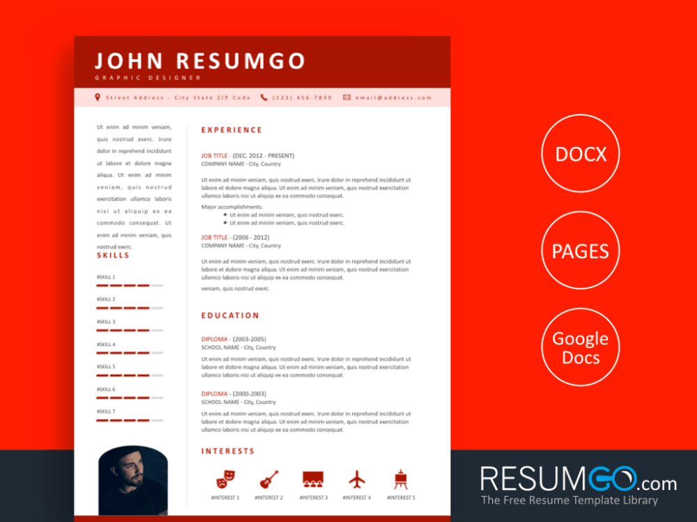 KOSMOS Professional Resume Template with Red Header