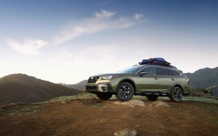 A 2020 Outback Onyx Edition Xt With Cargo On Its Roof Rack At The