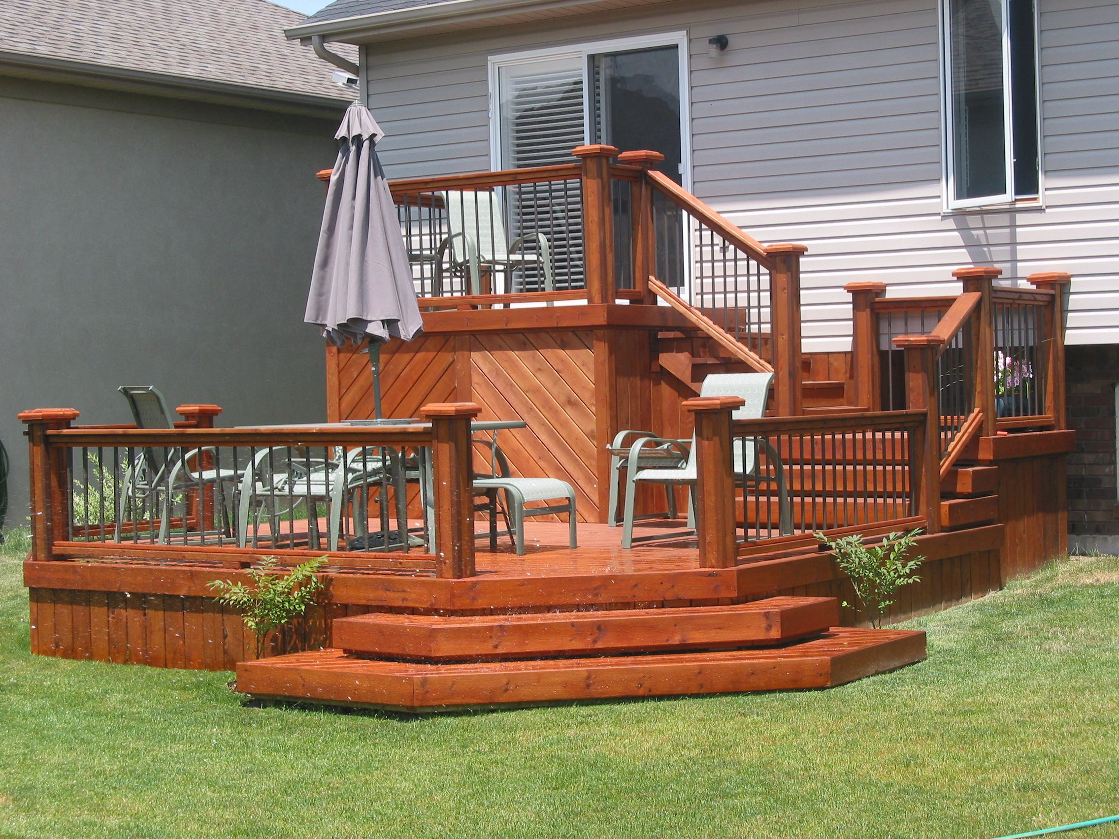 Affordable 2 tiered deck. Visit us at http://www ... on Tiered Patio Ideas id=25969