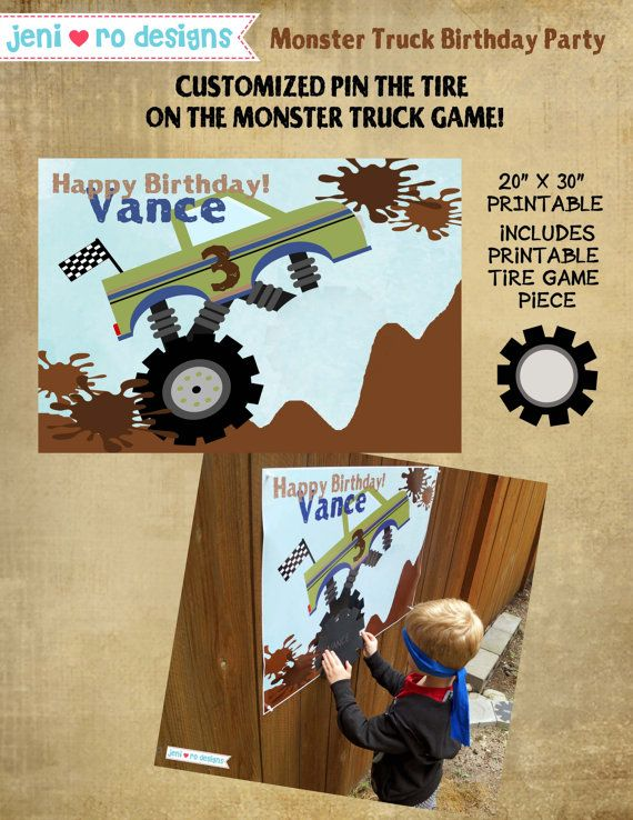 Boy's Monster Truck Birthday Party Pin the Tire by jenirodesigns