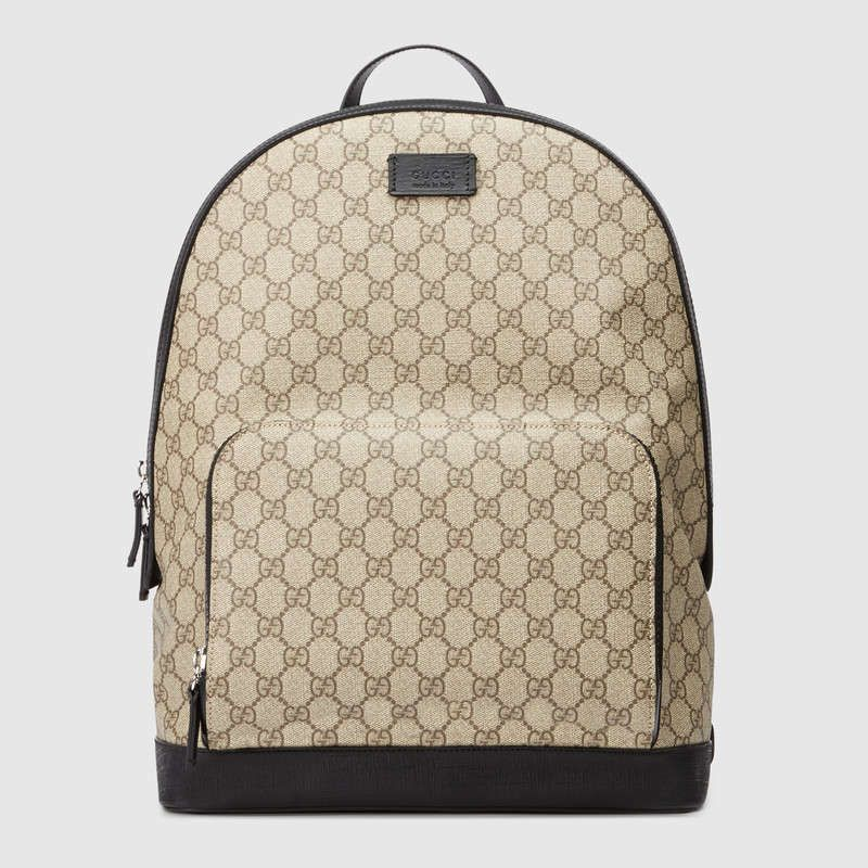 Shop The GG Supreme Backpack By Gucci Canvas Finished With Black Leather Details And Rubberized Hardware