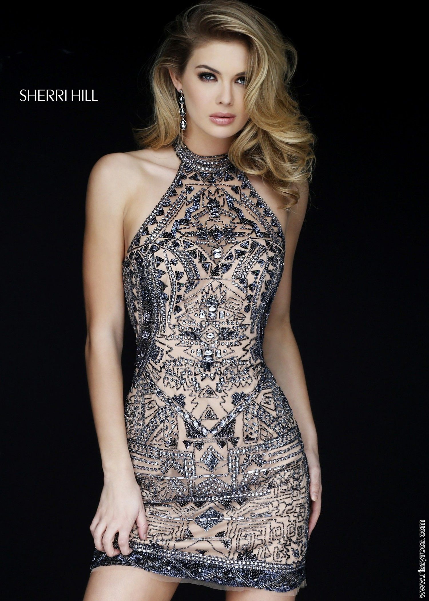 Sherri Hill 1981 Aztec Beaded Halter Dress