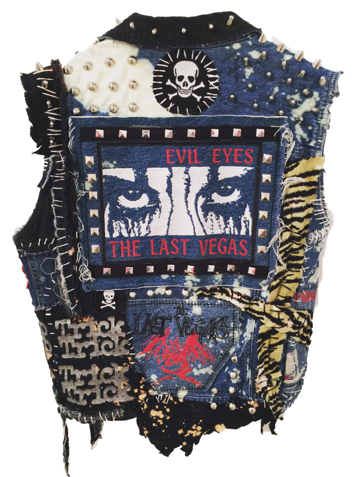 Denim rocker vest by chad cherry s punk rock studded