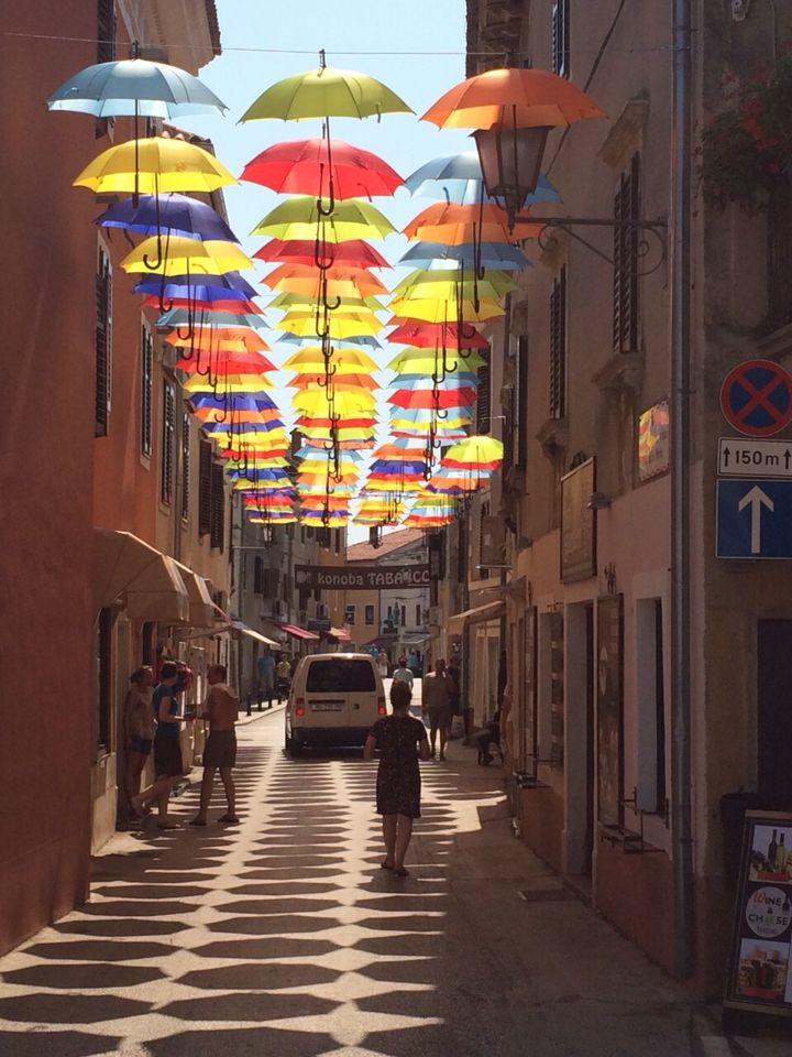 Umbrella's in Novigrad, Croatia. Sun protection.