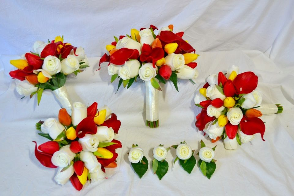 Ivory Roses With Red And Yellow Tulips & Red Calla Lilies