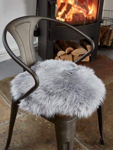 Luxurious Sheepskin Seat Cover   Lt Grey