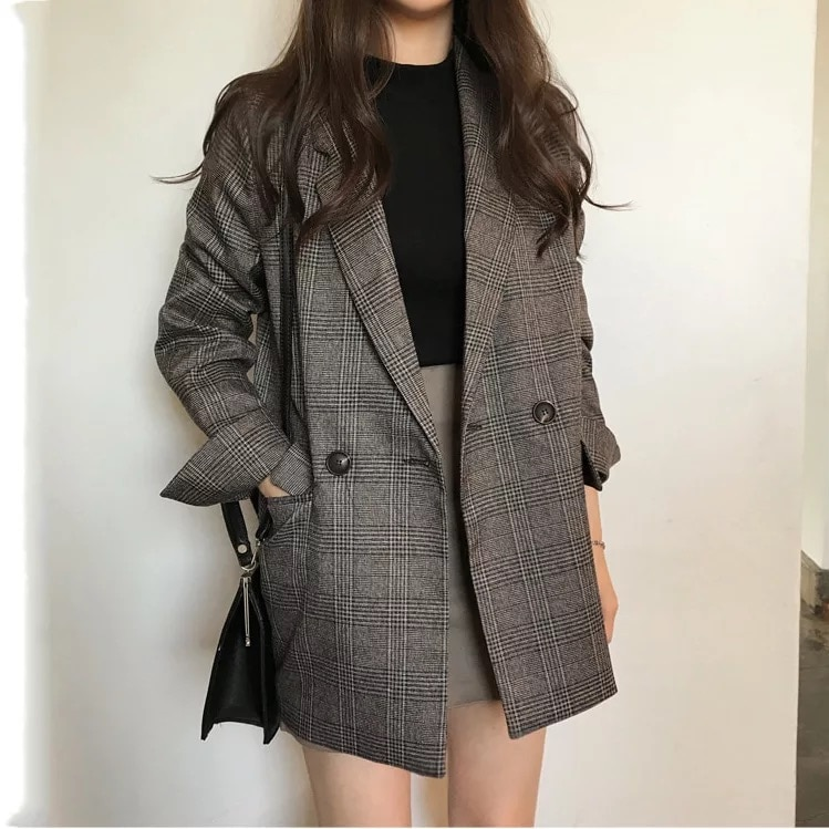 Women check long sleeve cotton jacket casual vintage coat plaid blazer