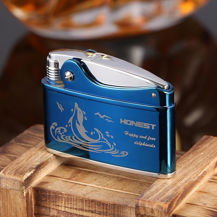 Genuine Flint Oil Lighter,Bronze Copper Metal Wheel Lighter