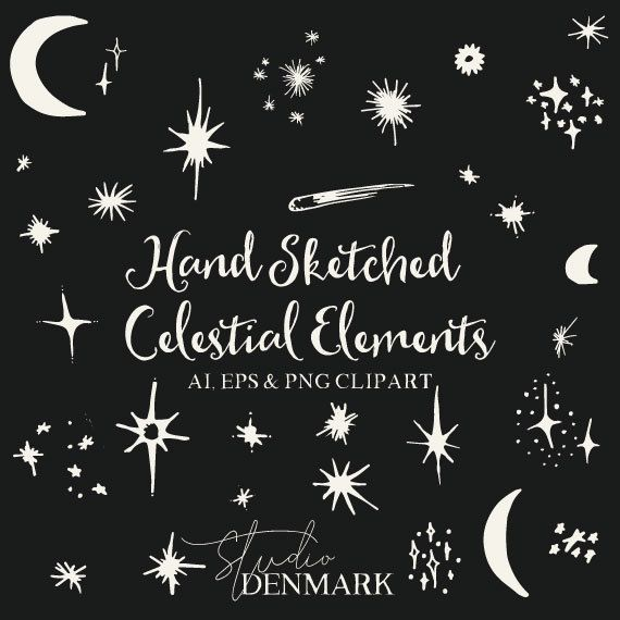 Hand Sketched Celestial Clipart 31 Stars And Moons Vector Etsy In 2021 How To Draw Hands Hand Sketch Clip Art