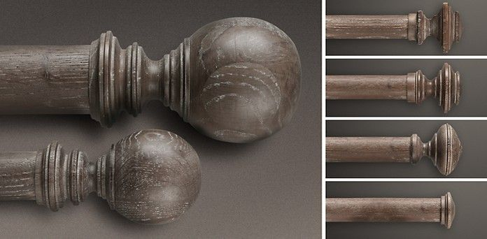 Estate Weathered Oak Drapery Hardware Collection Restoration