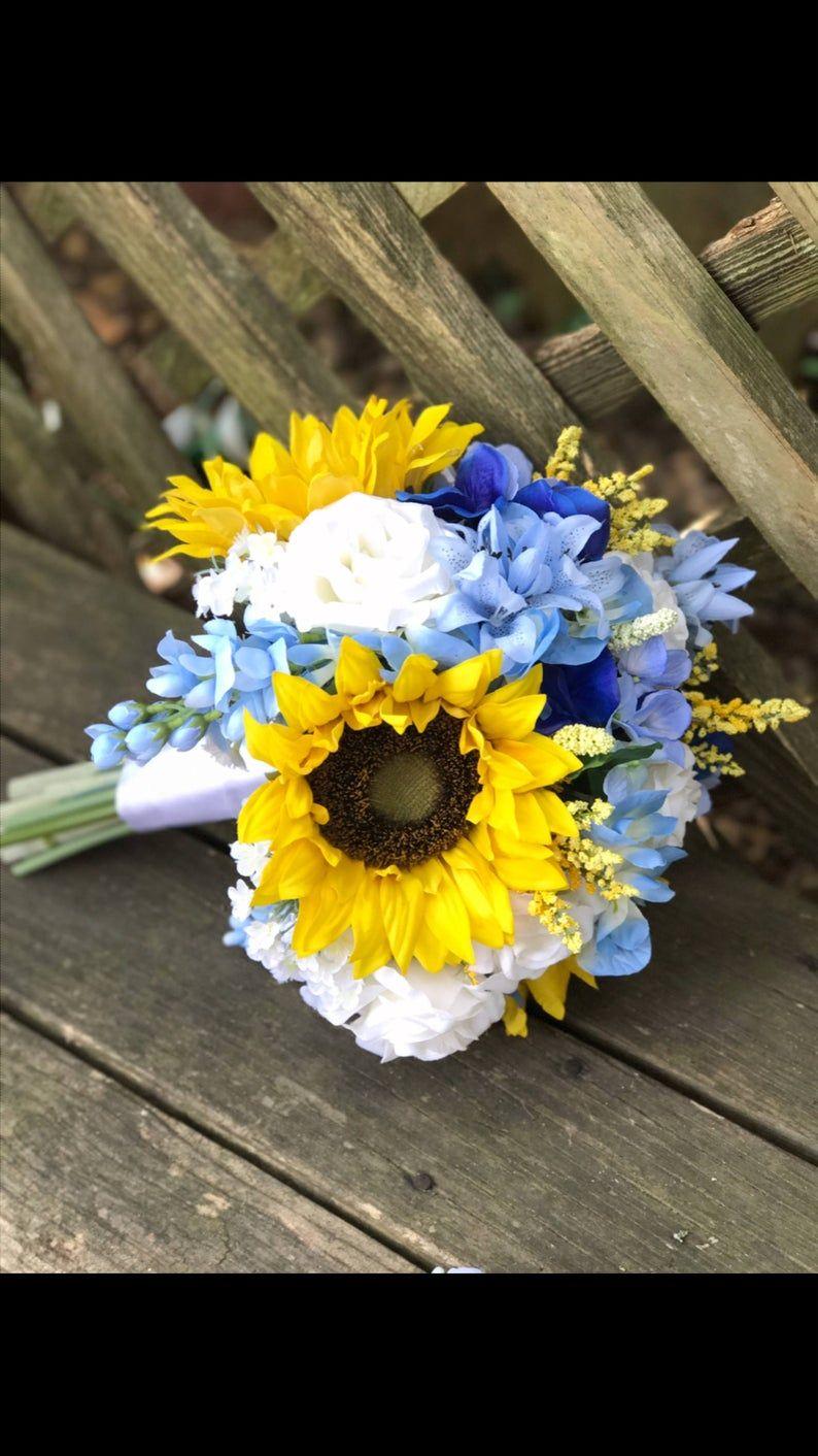 Sunflower wedding bouquet/Sunflower and Blue bridal Etsy