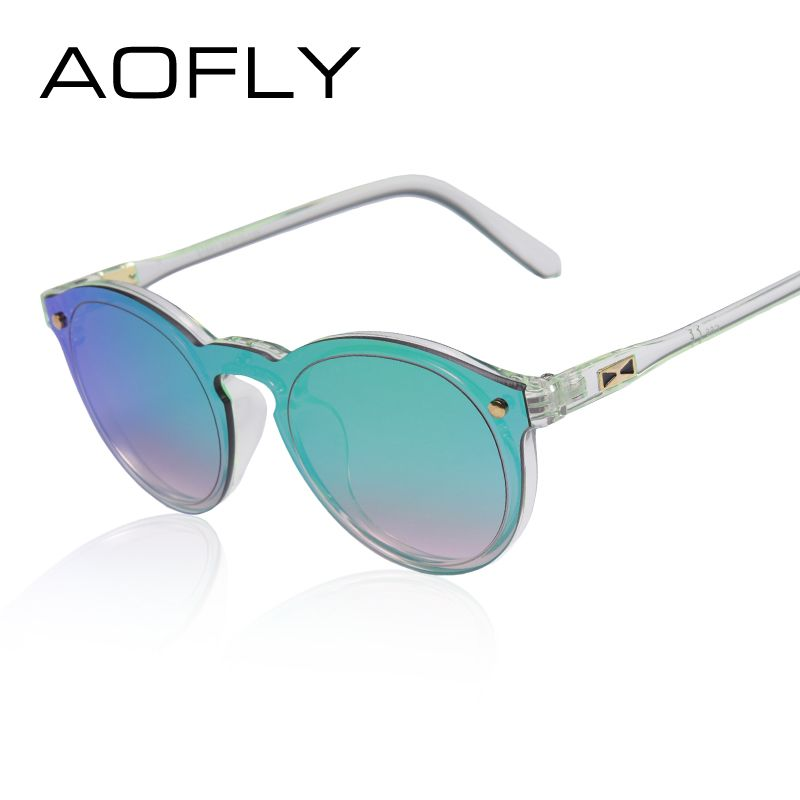 a5b93290793c AOFLY Women Sunglasses Oval Fashion Female Men Retro Reflective Mirror  Sunglasses Clear Candy Color Famous Brand Designer Oculos