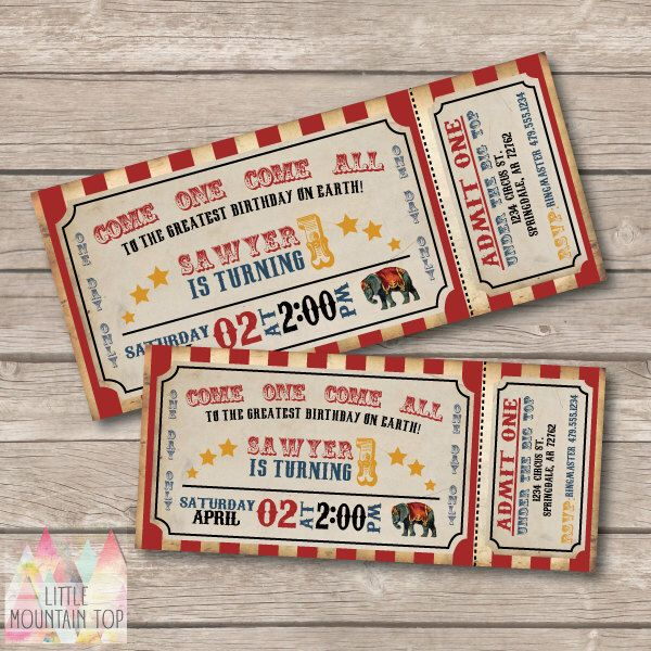 Circus Invitation. Circus Birthday Invitation. Circus Party. Vintage Circus Ticket - Printable Invitation. Circus Themed Party. by LittleMountainTop on Etsy https://www.etsy.com/au/listing/165811196/circus-invitation-circus-birthday