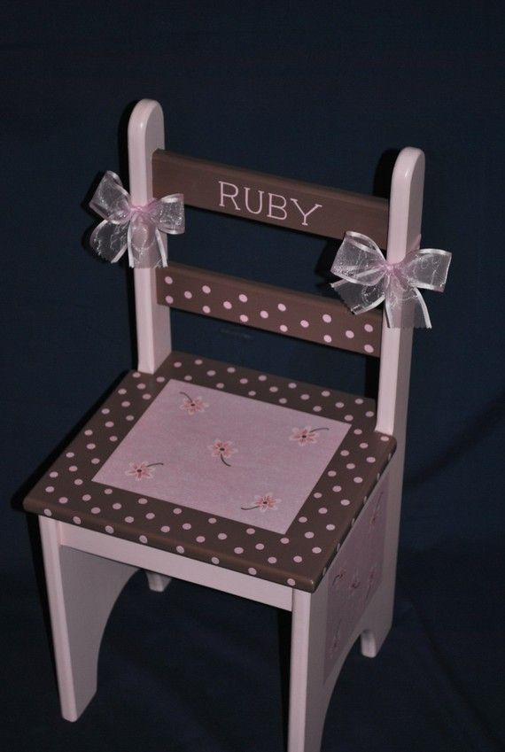 CHILDREN'S CHAIR Personalized Pink / Brown Floral Design hand painted by onmyown14 on Etsy