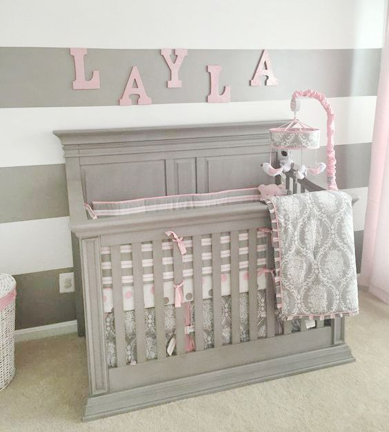 Pink And Grey Baby Bedding Rose Baby Bedding My Baby Sam In 2020 Grey Baby Bedding Baby Girl Nursery Pink Baby Girl Room Pink