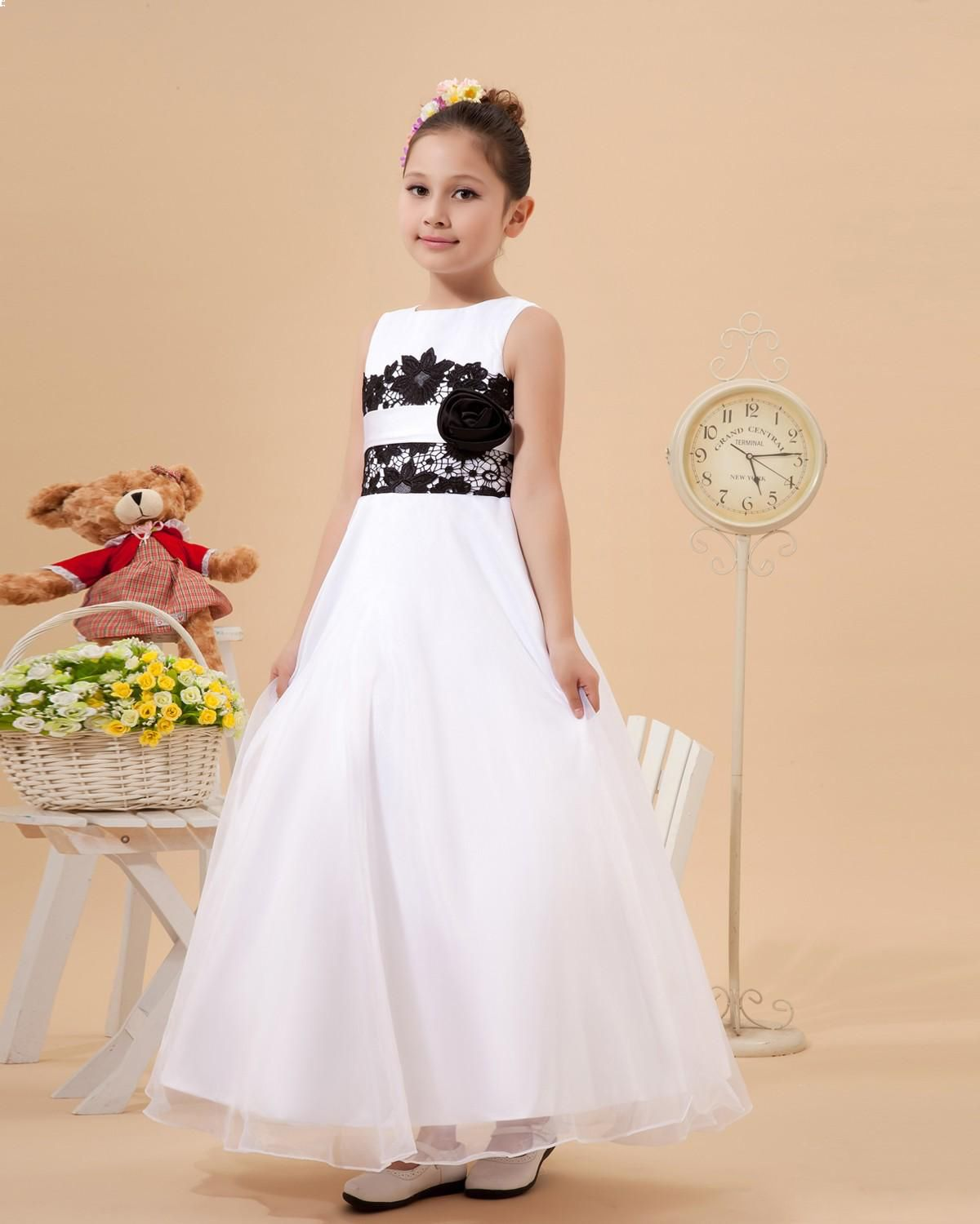 Satin organza handmade flower girl dress wedding reception
