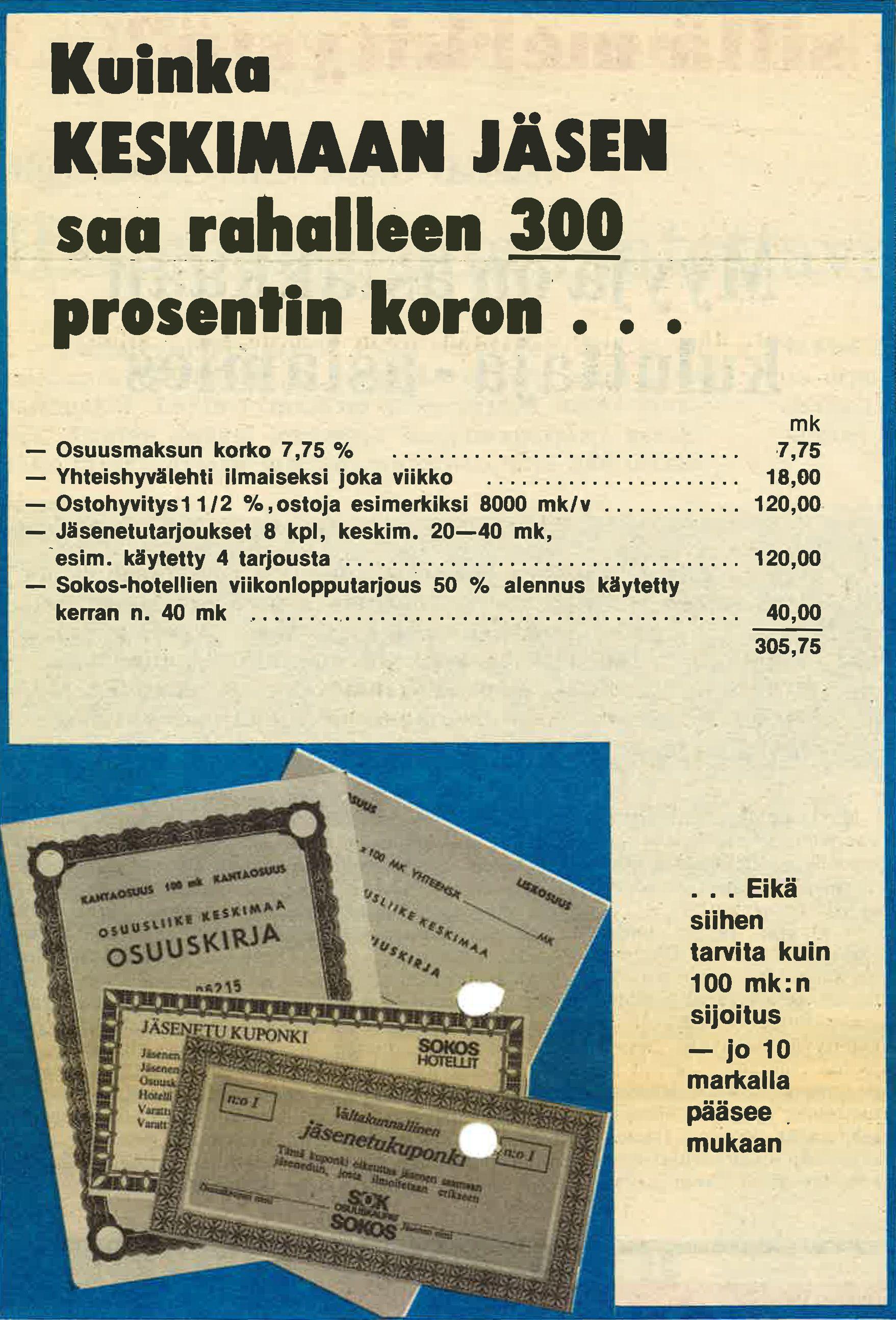 Mainos jäsenyyydestä Keskimaa-lehdessä vuonna 1975