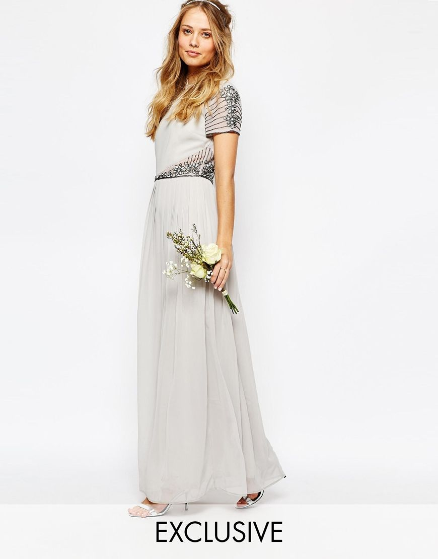 Star is born embellished crepe maxi dress in metallic lyst - Image 1 Of Maya Cap Sleeve Maxi Dress With Embellished Waist Detail