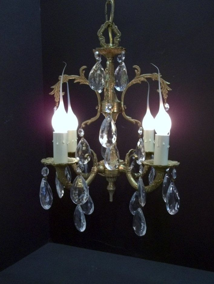 Vintage Pee Brass Crystal Chandelier Small Four Light Spanish