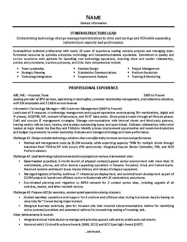 Information Technology Resume Example Sample It Support Resumes It