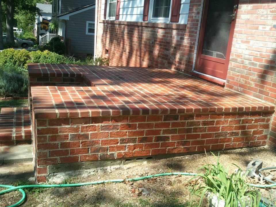 another idea brick veneer on the existing concrete stoop wood