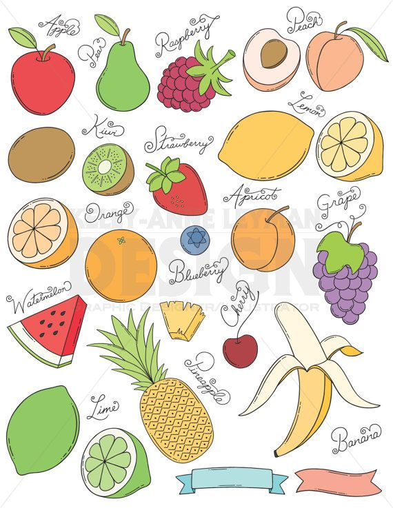 Doodle Fruit Clip Art Set Hand Drawn Food Clipart Commercial Etsy Fruits Drawing Food Drawing How To Draw Hands
