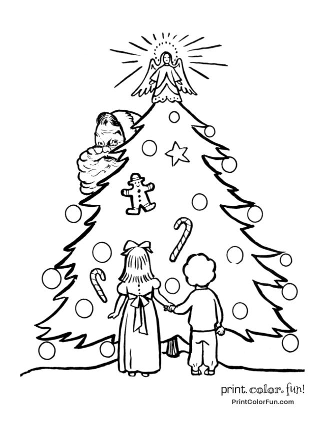 Retro Christmas Tree With Santa Christmas Tree Coloring Page Free Christmas Coloring Pages Tree Coloring Page
