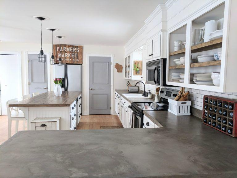 Diy Concrete Overlay Countertops Farmhouse Kitchen Countertops