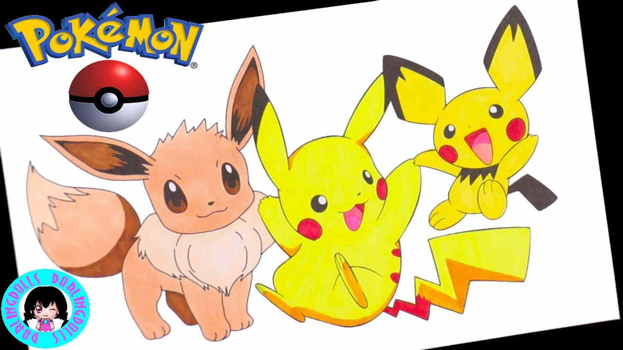 Pokémon ( ポケモン ) Eevee, Pikachu, Pichu ! 💕 Coloring with ...