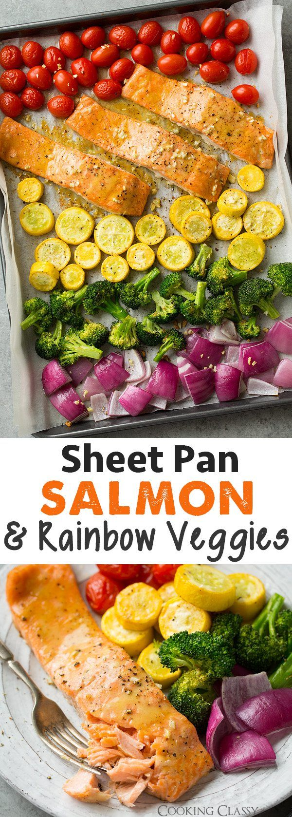 Sheet Pan Honey Mustard Salmon with Rainbow Veggies - Cooking Classy