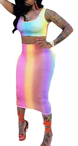 9b7d2c55eac X-Future Women's Sexy Gradient Color Crop Tank Top Bodycon Skirts 2 PCS Set  Outfit