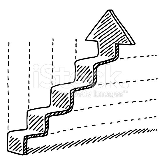 Hand-drawn vector drawing of a Graph with a Steps-Shaped