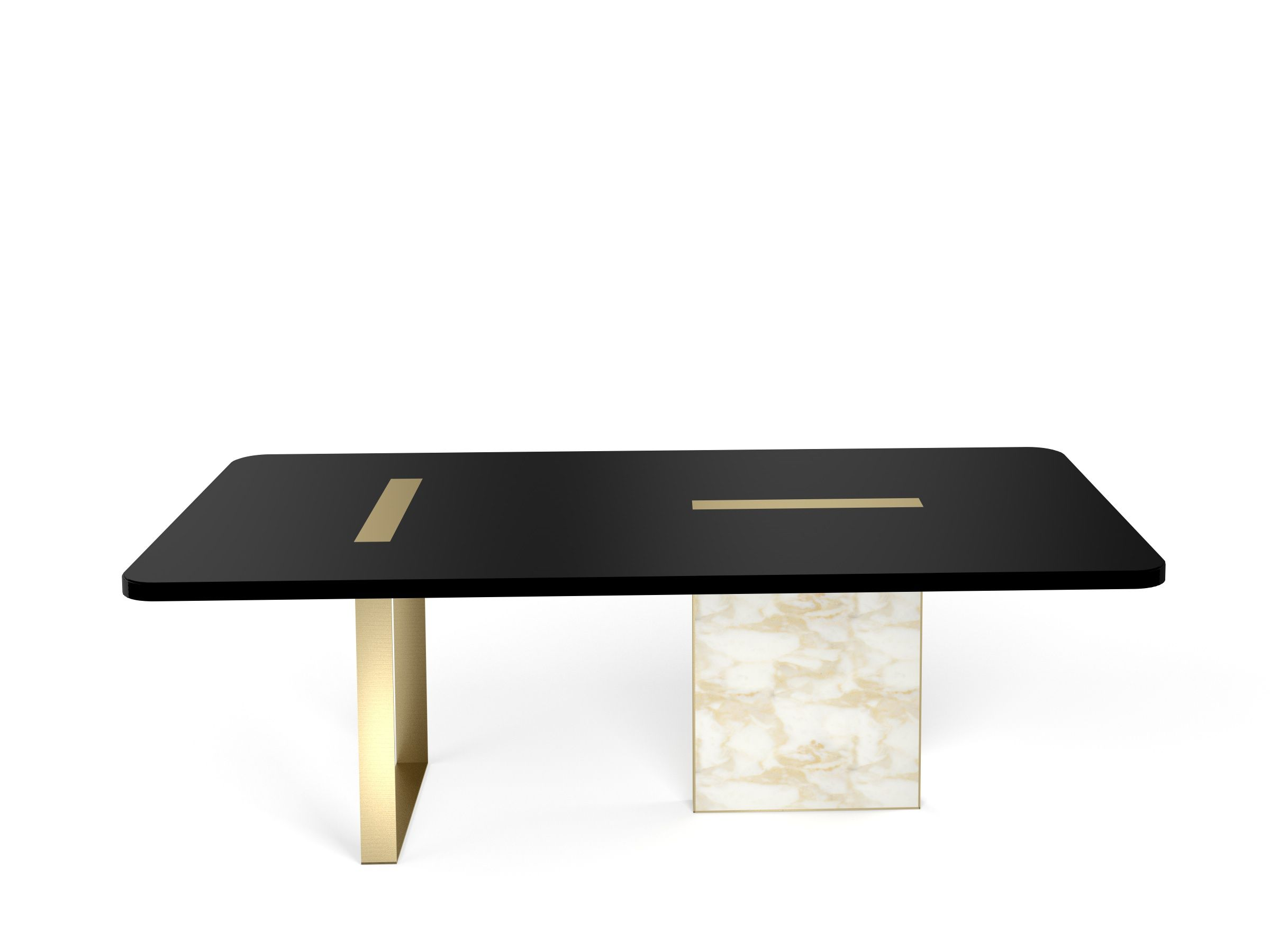 Tyron Dining Table 220x110 In Black Laquered Wood With Brushed