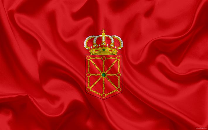 Lataa kuva Lipun Navarra, autonominen alue, espanja, britannia Navarra, silkki lippu, Navarra vaakuna