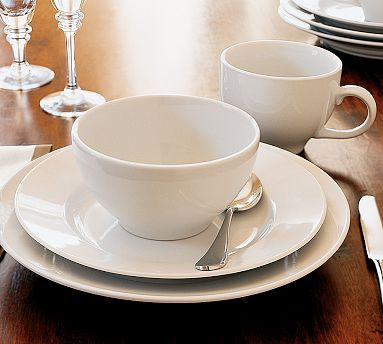 Great White Dinnerware #potterybarn & Great White Rim 16-Piece Set With Soup Bowl (Dinner Salad Soup ...